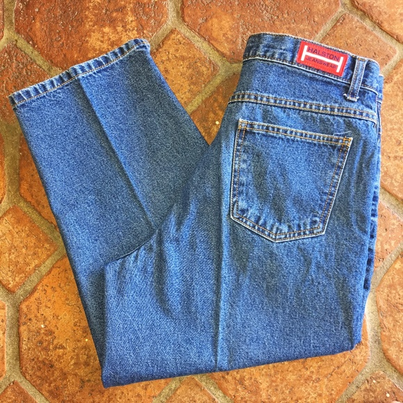 Halston Jeanswear Denim - Vtg 90's Halston High Waisted Cropped Blue Jeans